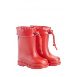Botas de agua para niño o niña en rojo con borreguito, de Igor