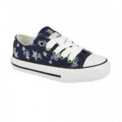 Zapatillas de lona en denim azul con estrellas de cordones, de Conguitos