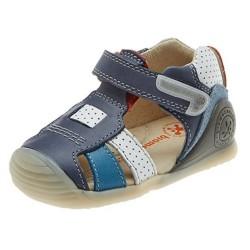 Sandalias para niño en piel azul y blanca, de Biomecanics de Garvalín