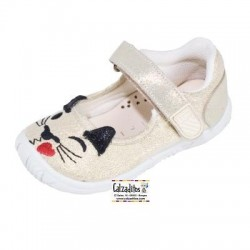 Merceditas de lona con hilo brillante y velcro, de Lonettes Zapy for girls