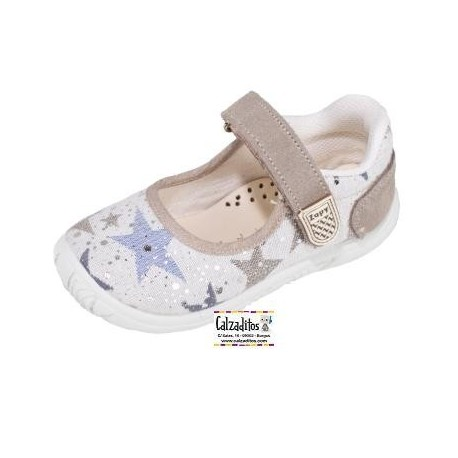 Merceditas de lona con estampado de estrellas y velcro, de Lonettes Zapy for girls