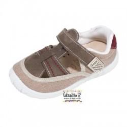 Sandalias de lona para niño con tira intercalada y velcro, de Lonettes Zapy for kids