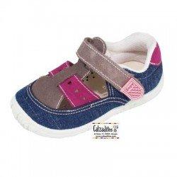 Sandalias de lona para niña con tira intercalada y velcro, de Lonettes Zapy