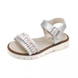 Sandalias para niña en piel con pala de flecos, de Garvalín