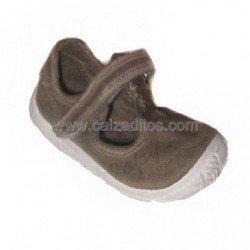 Zapato-sandalias de lona marrones, de Zapy (pepitos)