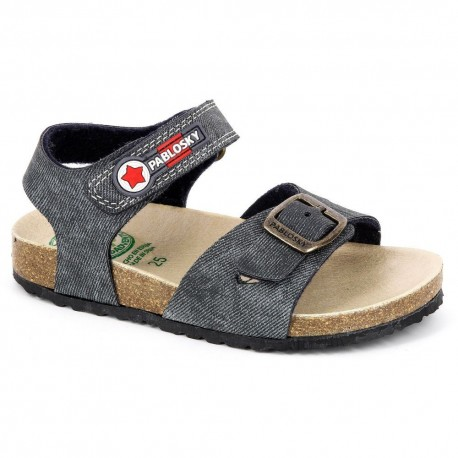 Sandalias para niño en vaquero lavado asfalto con suela bio de Pablosky