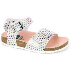 Sandalias para niña en glitter plata milpuntos con piso bio y hebillas, de Pablosky