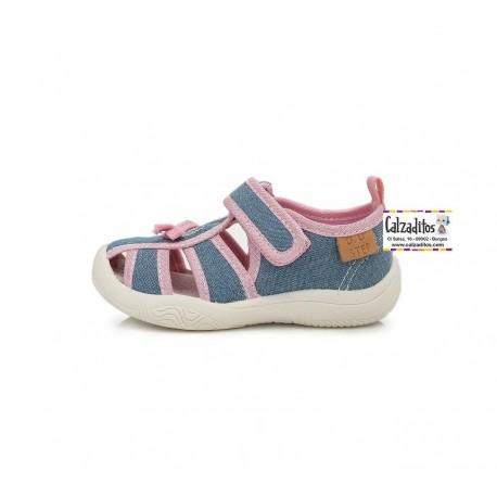 Sandalias de loneta para niña con velcro de D.D. Step
