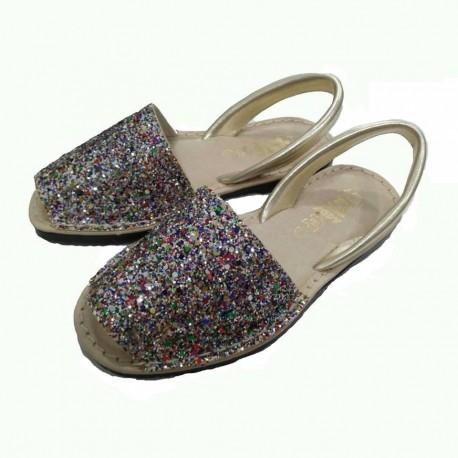 Ibicencas para niña o mujer de piel platino con glitter multicolor, de Zapy