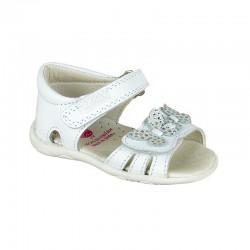 Sandalias de piel blanca con velcro, de Pablosky
