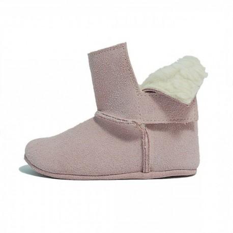 Botitas australianas de serraje rosa para bebé niña sin suela, de Patucos Índice