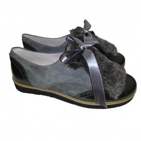 Zapatos tipo blucher para niña o chica con solapa y plataforma de Pirufín