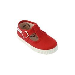 Zapatillas de lona tipo pepito en color rojo, de Victoria