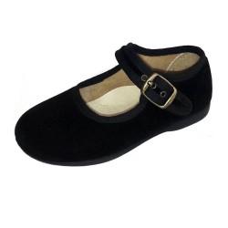 Merceditas de terciopelo negro con hebilla, de Batilas
