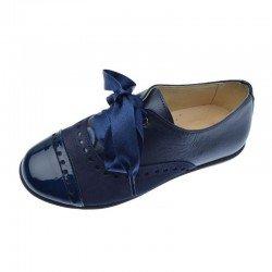 Zapatos blucher para niña o mujer de piel nacarada, ante y charol kaffir azul marino, de Andanines