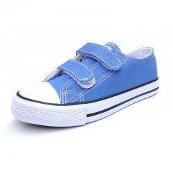 Zapatillas de lona de color azul con puntera y dos velcros, de Conguitos