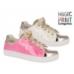 Zapatillas de niña de charol solar ultravioleta blanco-rosa de Fresas by Conguitos