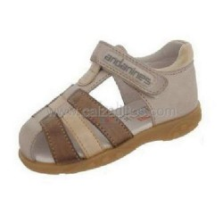 Sandalias grises para niño de piel, de Andanines