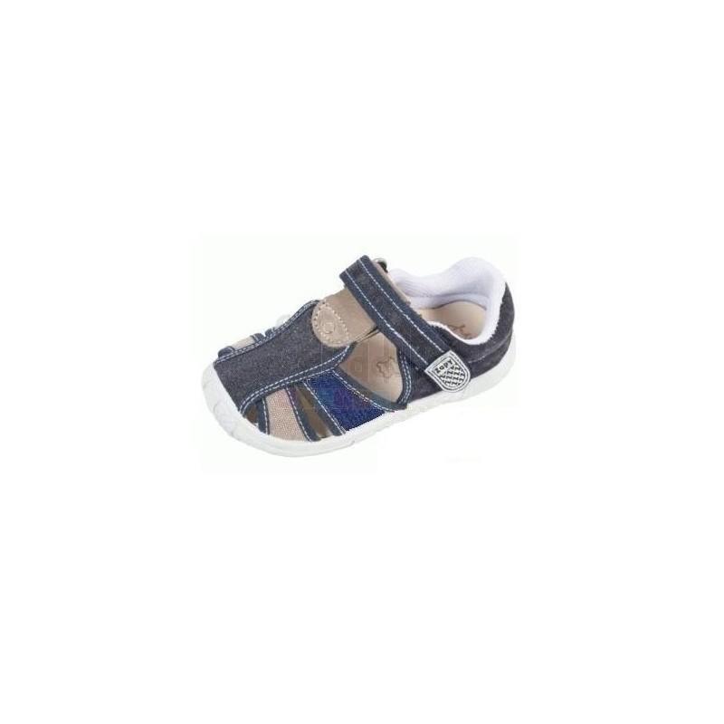 dad31095a5c ... Sandalias de lona vaquera azul acolchadas con velcro