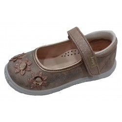 Merceditas de serraje metalizado con velcro, de Lonettes Zapy for girls
