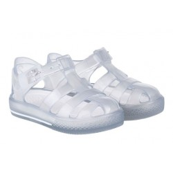 Sandalias de agua plata/purpurina con hebilla modelo Tenis Glitter, de Igor