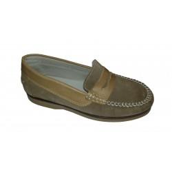 Mocasines antifaz de piel serraje de Tinny Shoes