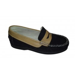 Mocasines antifaz de piel serraje de Tinny Shoes