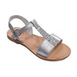 Sandalias de niña en piel metalizada de Andanines