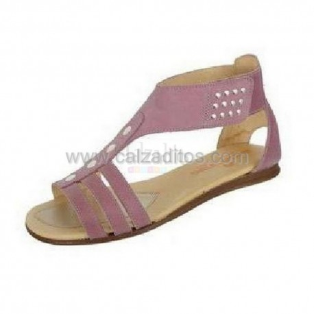 Sandalias moradas de piel para niña/chica, de Andanines