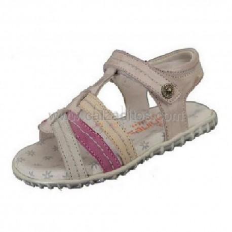 Sandalia multicolores de piel para niña, de Andanines
