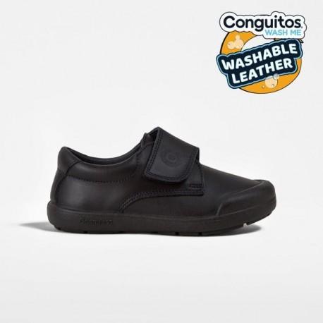 Zapatos colegiales lavables en azul marino para niño, de Conguitos