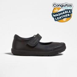 Zapatos colegiales lavables en azul marino para niña, de Conguitos