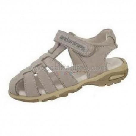 Sandalias grises de nobuk para niño, de Andanines