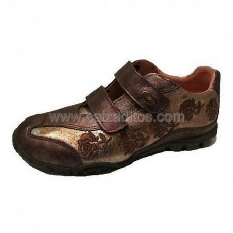 Zapatos de piel Sport con dos velcros en bronce de Naturino