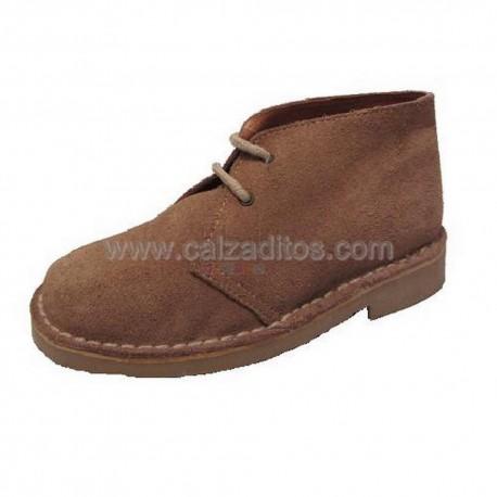 Botines de piel serraje marrón con cordones, de bstx