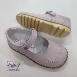 Zapatos de niña rosas de piel, de Andanines