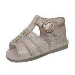 Sandalias de piel nacarada para niña, de Andanines