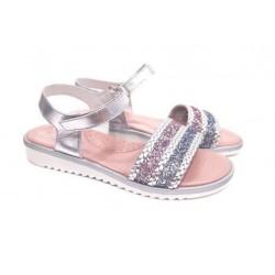 Sandalias para niña en piel plata de D'Bebé Alta Colección
