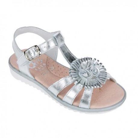 Sandalias para niña de piel plata de D'Bebé Alta Colección