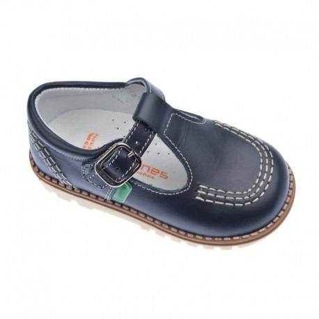 Zapatos de niño azules de piel, de Andanines (pepitos)