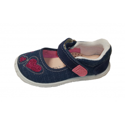 Merceditas de lona vaquera con velcro, de Lonettes Zapy for girls