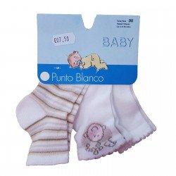 Pack de tres pares de calcetines de bebé de Punto Blanco