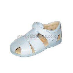 Sandalias niño azules celeste de piel, de Gux's Baby