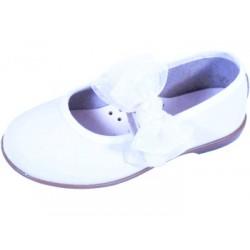 Merceditas de piel blanca lavable con velcro, de Zapy Girls