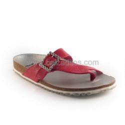 Sandalias de dedo en piel fucsia, de Nens