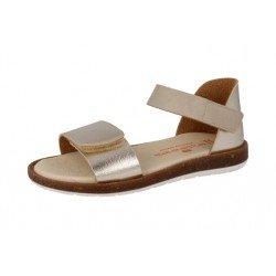 Sandalias para niña en piel malinche metálico oro inglés de Andanines