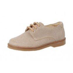 Zapatos tipo blucher de piel serraje color taupe para niño, de Andanines