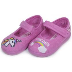 Zapatillas de estar en casa para niña de unicornios con velcro de Zapy