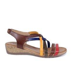 Sandalias confort de cuña en cuero multicolor de Valeria's