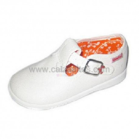 Zapatos (pepitos) de piké (lona) blancos, de Titanitos